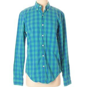 J. Crew | slim fit green & blue checkered shirt